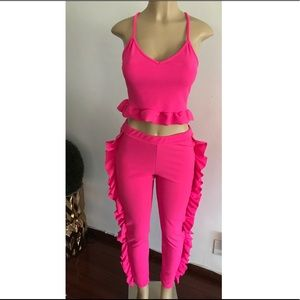 Pants - Pink Ruffle Top & Bottom